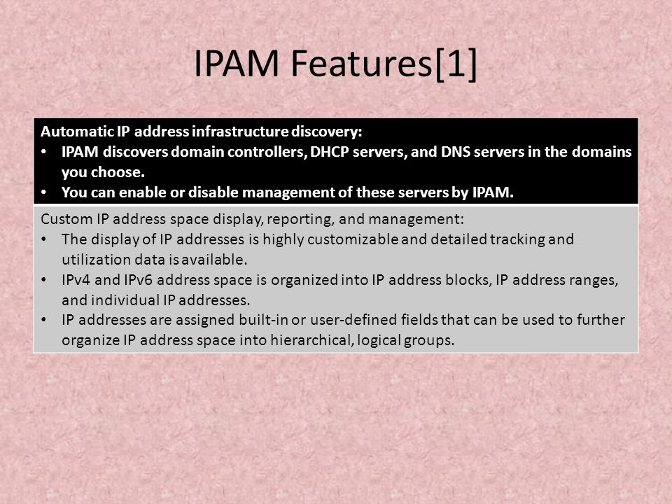 IPAM Features[1] Automatic IP address infrastructure discovery: